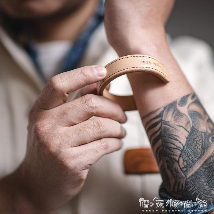 馬登工裝 美式復古進口植鞣真皮手鐲阿美咔嘰簡約開口寬手環男女