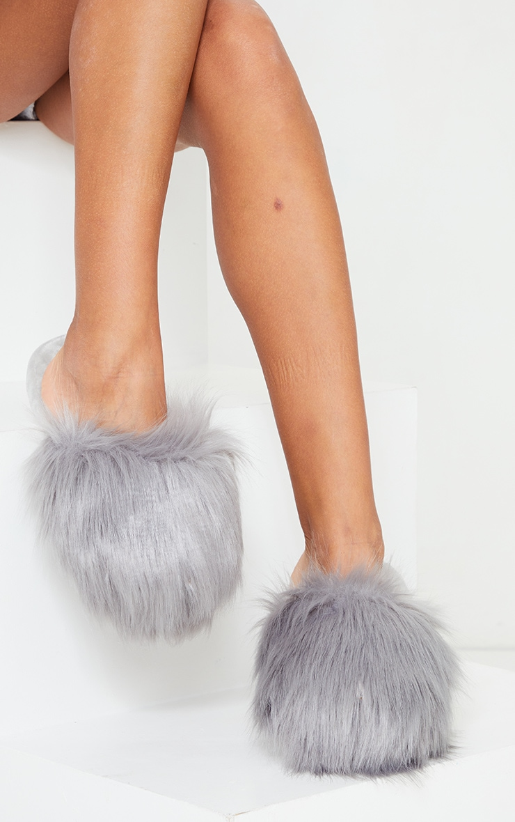 Grey Super Fluffy Mule Slippers