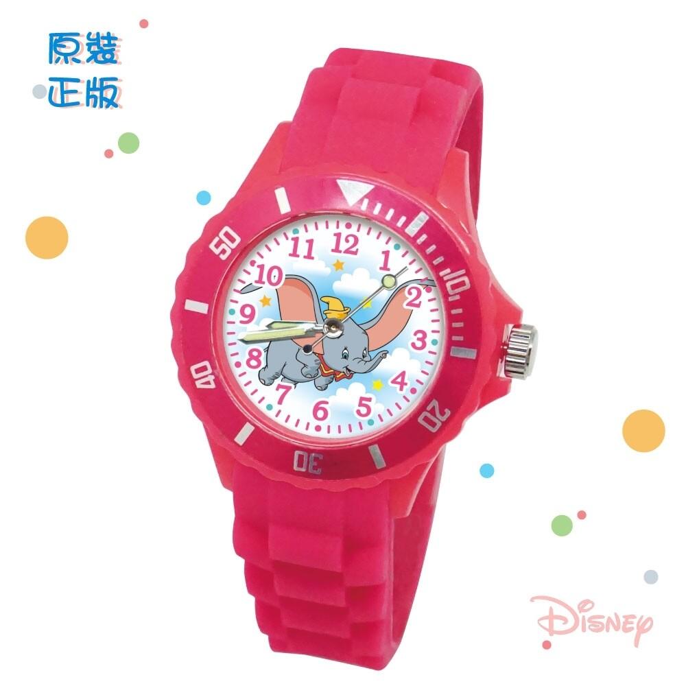 disney迪士尼魔法小飛象 兒童運動彩帶手錶_桃紅(中款/正版授權)