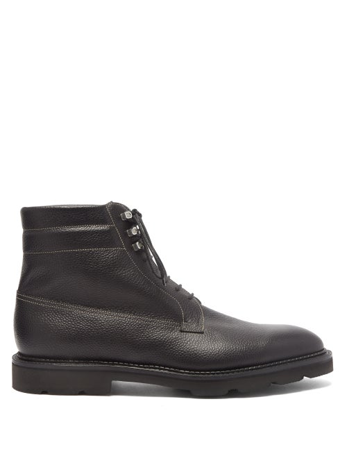 John Lobb - Alder Topstitched Pebbled-leather Boots - Mens - Black
