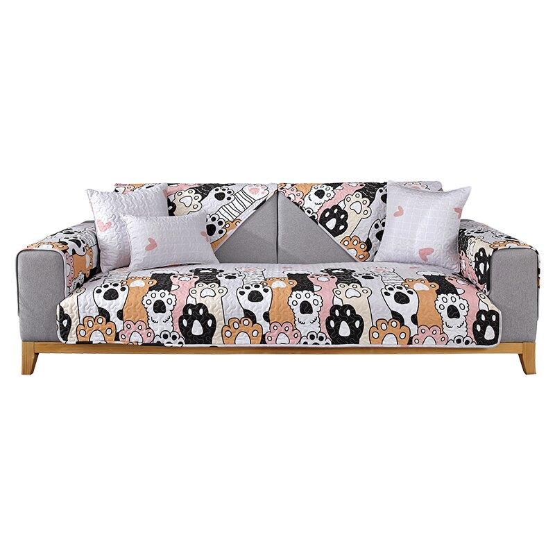 卡通可愛寵物沙發墊純棉布藝四季通用簡約現