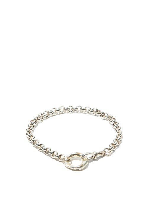 Bleue Burnham - B Oxidised Recycled-silver Chain Bracelet - Mens - Silver