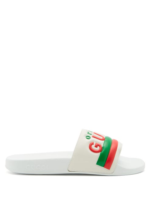 Gucci - Original Gucci Logo Leather And Rubber Slides - Womens - White Multi