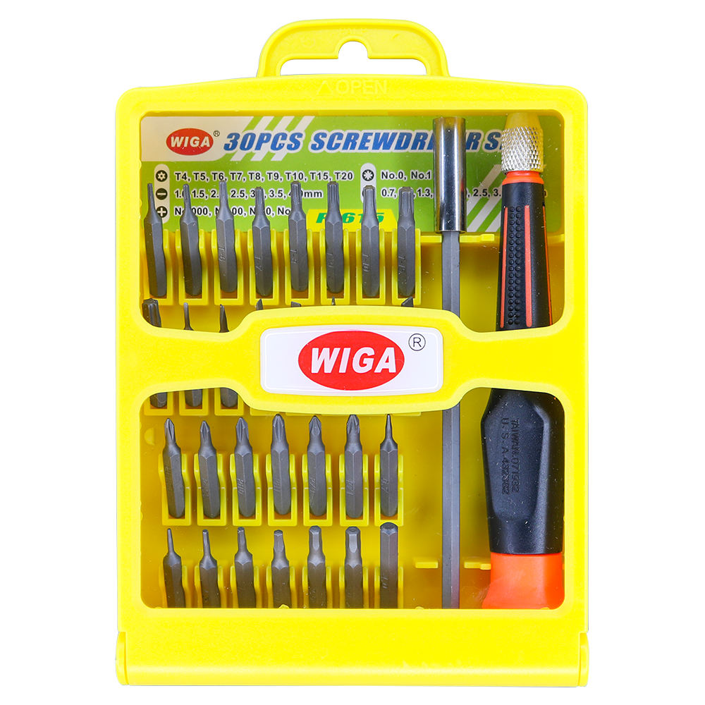 WIGA 威力鋼 P-615 替換式精密起子組 30件組[防呆螺絲, 好出力, 鉻鉬鋼頭部, 不易耗損]