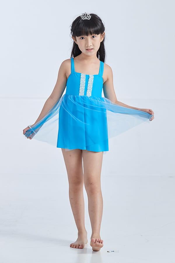 APPLE蘋果牌 女童公主網紗綴蕾絲連身裙泳衣  附泳帽     NO-019604