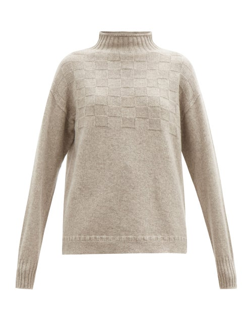 Connolly - High-neck Basketweave Merino-wool Blend Sweater - Womens - Light Brown