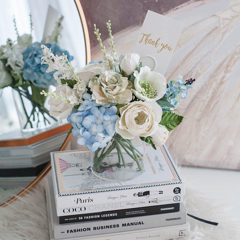 白色BABY BLUE波爾多裝飾花瓶