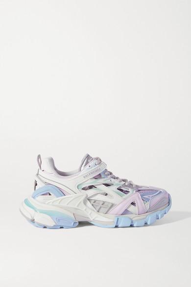 Balenciaga - Track 2 品牌标志细节金属感皮革网眼橡胶运动鞋 - 白色 - IT34