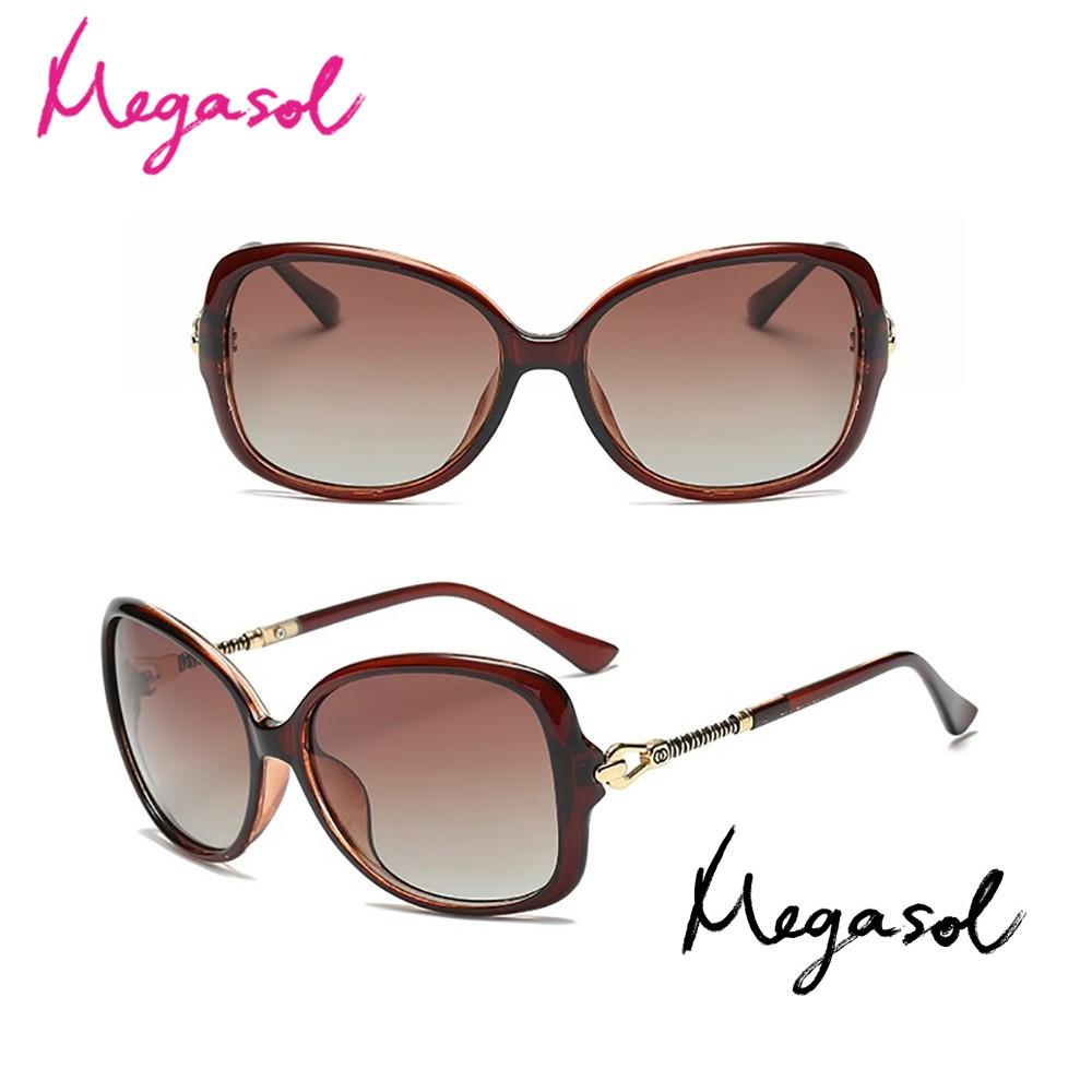 MEGASOL UV400防眩偏光太陽眼鏡時尚女仕大框矩方框墨鏡(簍空魔杖鏡架8895-多色選) 廠商直送