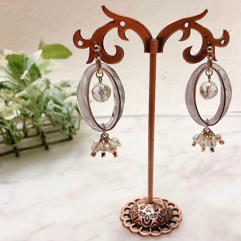 [免費送貨]水晶和淡水珍珠圈閃光耳環/藍色耳環