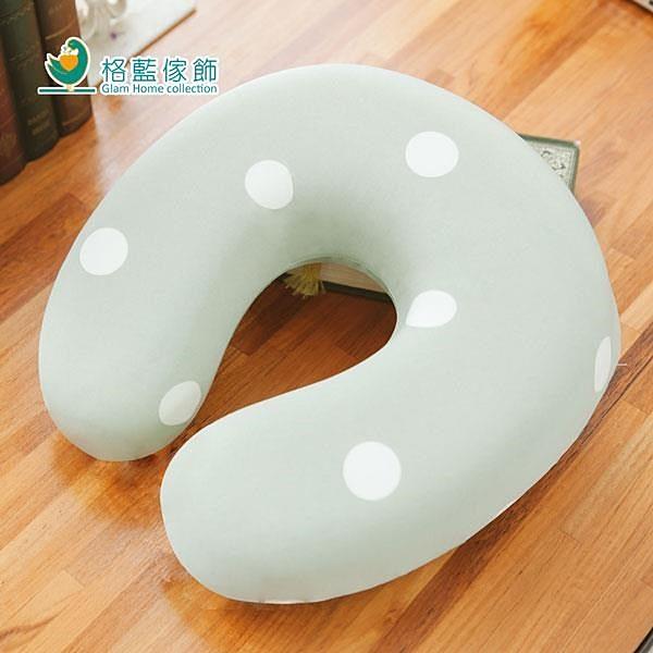 【南紡購物中心】【格藍傢飾】水玉涼感舒壓護頸枕-抹茶綠(小)