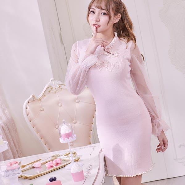 露比午茶-中國風珍珠滾邊網紗長袖洋裝