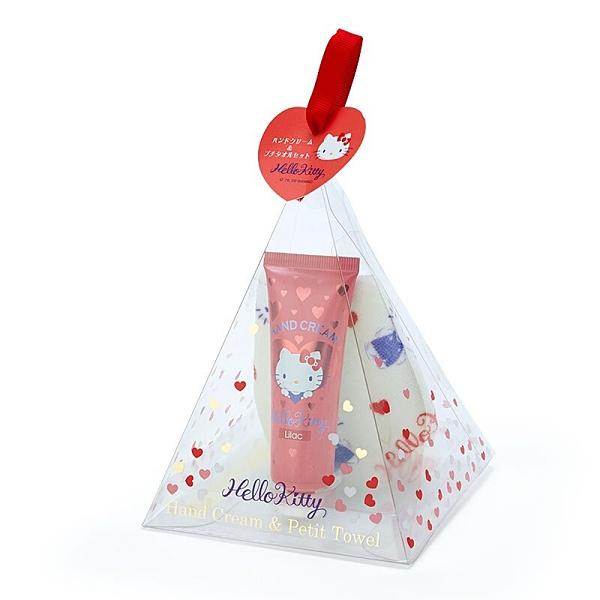 小禮堂 Hello Kitty 條狀保濕護手霜方巾組 護手乳 手帕 水果香 三角盒裝 (紅) 4550337-90954