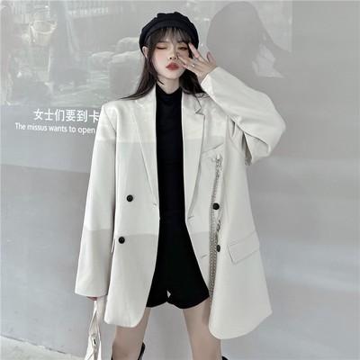 外套 西裝外套 上衣 新款秋季韓版ins鏈條廓形白色小西裝寬鬆時尚bf氣質西服上衣潮