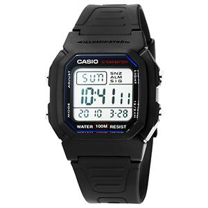 CASIO 卡西歐鬧鈴多時區電子錶-黑 / W-800H-1A (原廠公司貨全配盒裝)