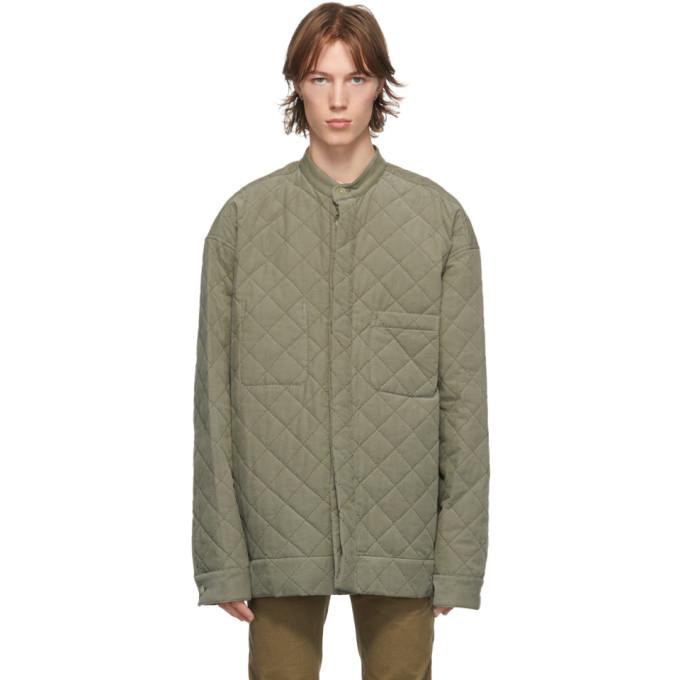 Haider Ackermann 军绿色大廓型绗缝衬衫夹克