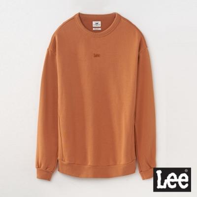 Lee 繡花小LOGO長袖圓領厚TEE RG 男款 棕色
