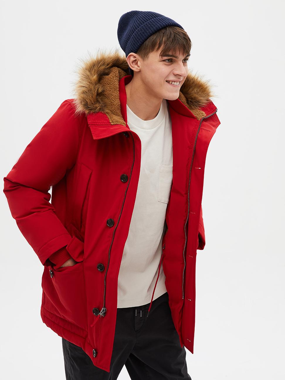 男裝 簡約風仿毛邊連帽派克大衣