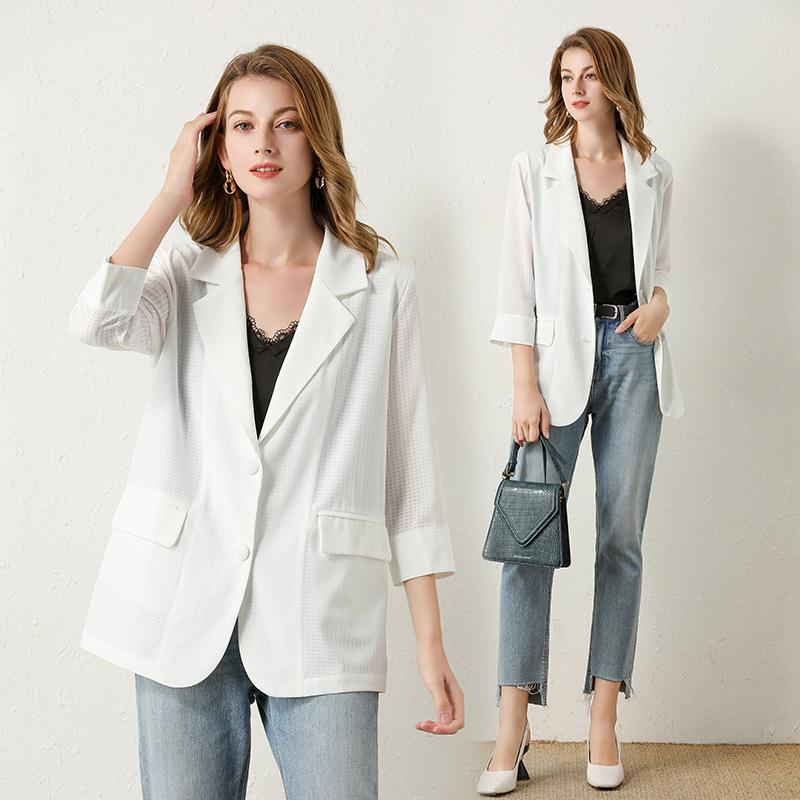 長袖洋裝 外套 新款春秋休閒百搭氣質白色小西裝英倫風設計感小眾時尚外套女