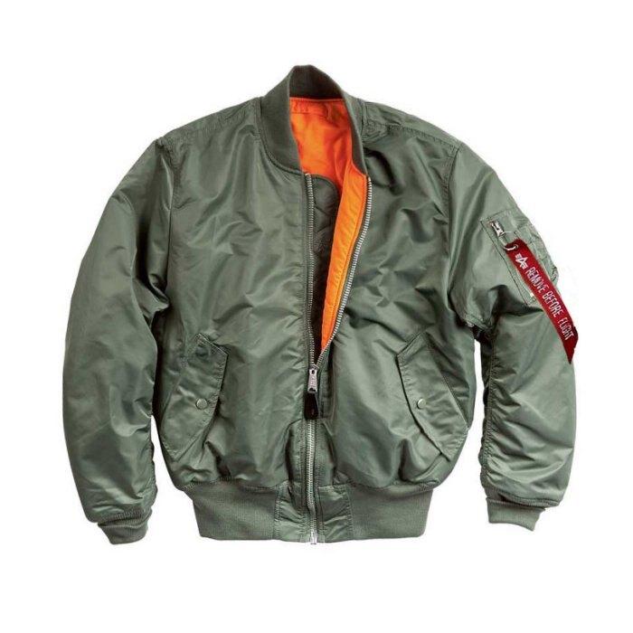 美國百分百【全新真品】Alpha MA-1 美版 飛行員 夾克 外套 雙面穿 空軍 防風 經典款 軍綠 S號 H682