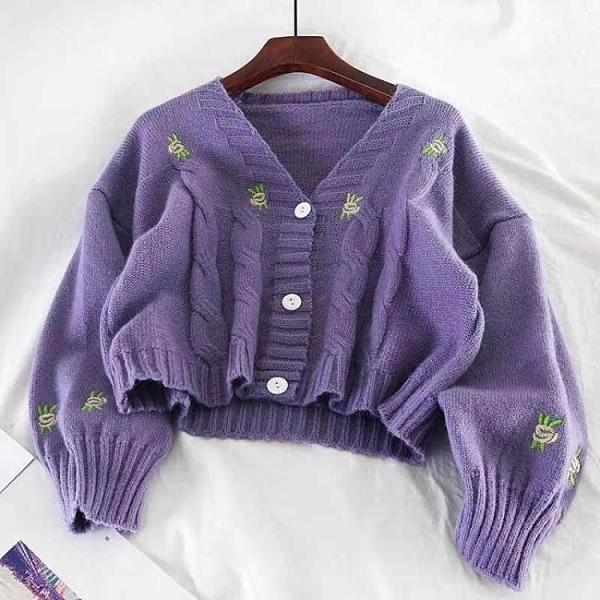(促銷九五折)小清新毛衣開衫女早秋薄款慵懶風小個子百搭針織衫上衣外套女