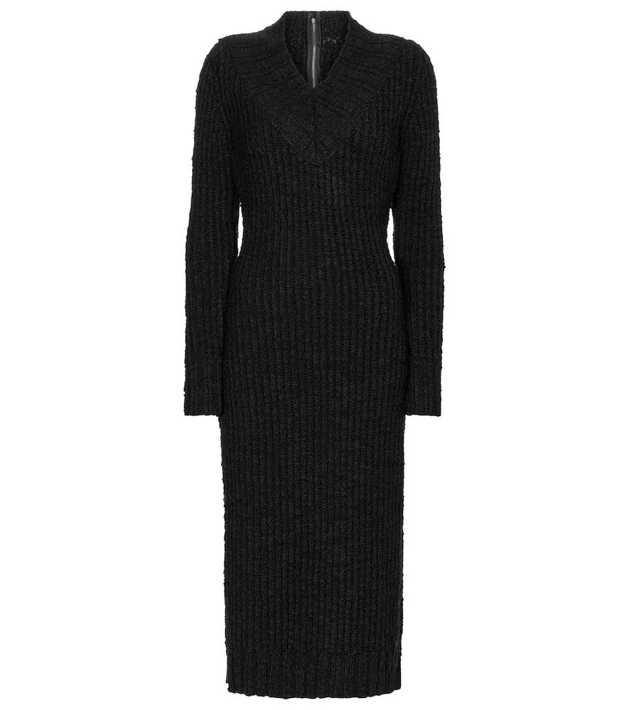 Stretch-wool knit midi dress