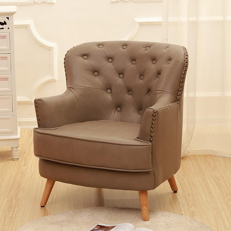 【極之家俱】美式單人沙發椅復古老虎椅高檔歐式休閑椅洽談新古典客廳書房陽臺【極之家俱】