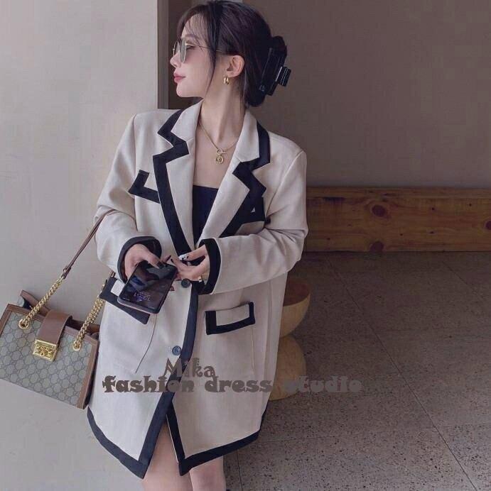 依米迦 長版西裝外套 法式小香風拼接寬鬆外套