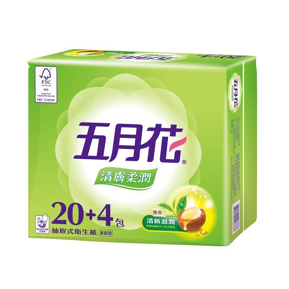 五月花清膚柔潤抽取衛生紙100抽*24包*3袋/箱