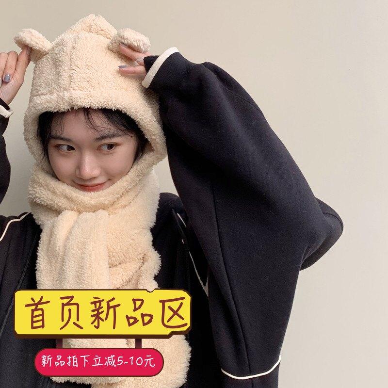 兩用連帽ins韓版毛毛絨圍巾女冬季保暖學生可愛少女心圍脖百搭潮
