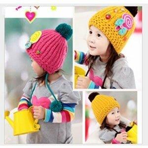 韓版-卡哇依糖果編織帽-黃綠