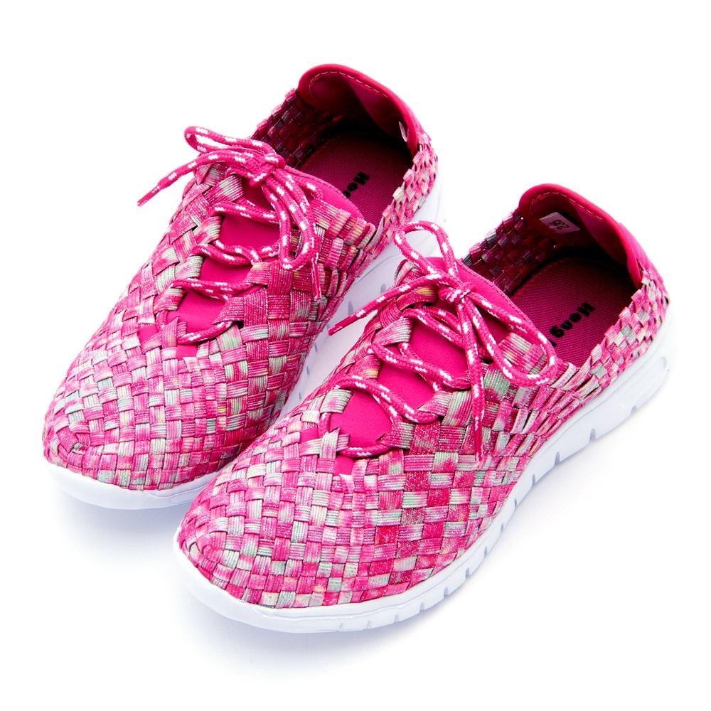 Hong Wa - 運動休閒透氣綁帶馬賽克編織布鞋 - 粉