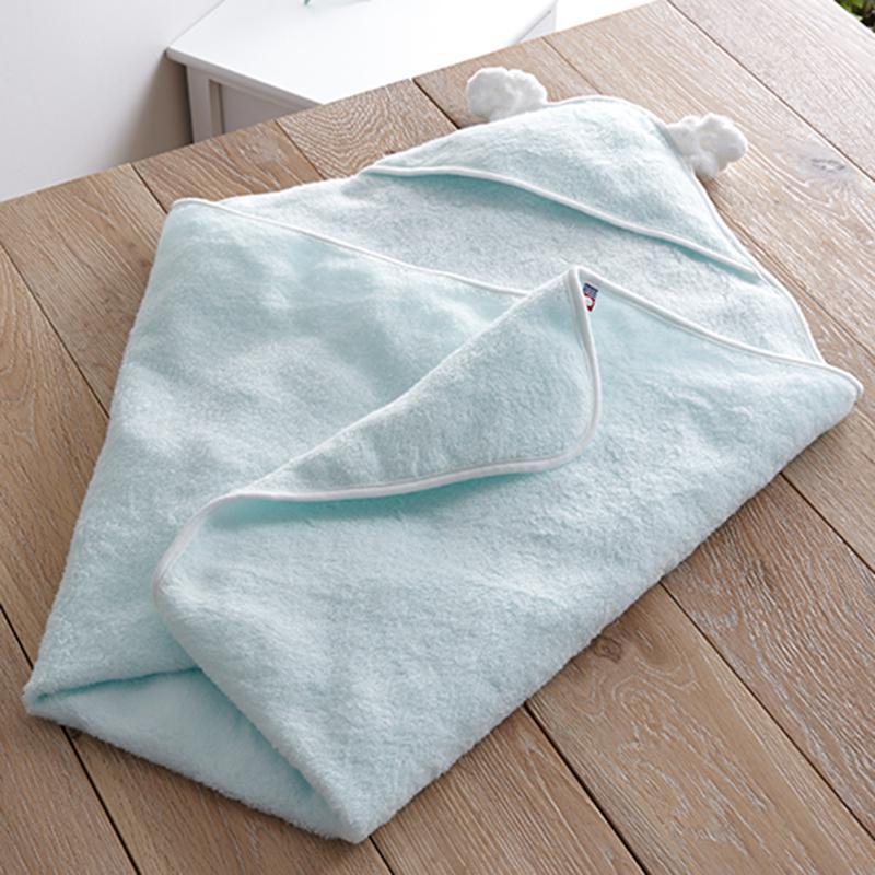 頂級今治毛巾  寶貝連帽浴巾/包巾 BLUE 水藍