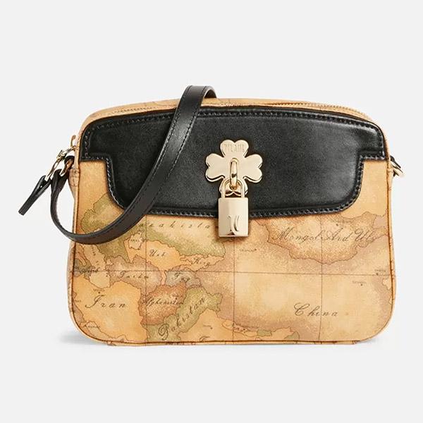【Alviero Martini 義大利地圖包】幸運草系列 鎖頭造型側背小包包-黑
