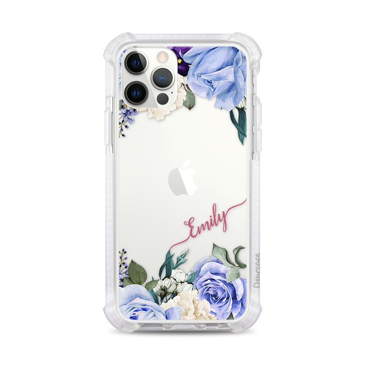 紫色玫瑰 撞白殼 訂製姓名/文字 客製化手機殼 防摔 iPhone12 Pro Max 11 Xs 8 Plus SE