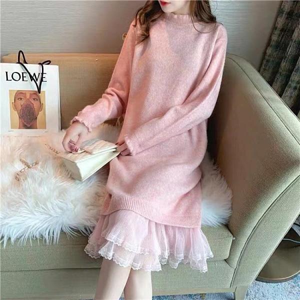 (促銷九五折)加厚針織連衣裙女年秋冬裝氣質復古寬松慵懶風百搭外穿毛衣裙