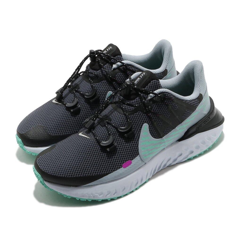NIKE 慢跑鞋 Legend React 3 運動 女鞋 輕量 舒適 避震 抽繩式鞋帶 防潑水 黑 綠 [CU3866-403]
