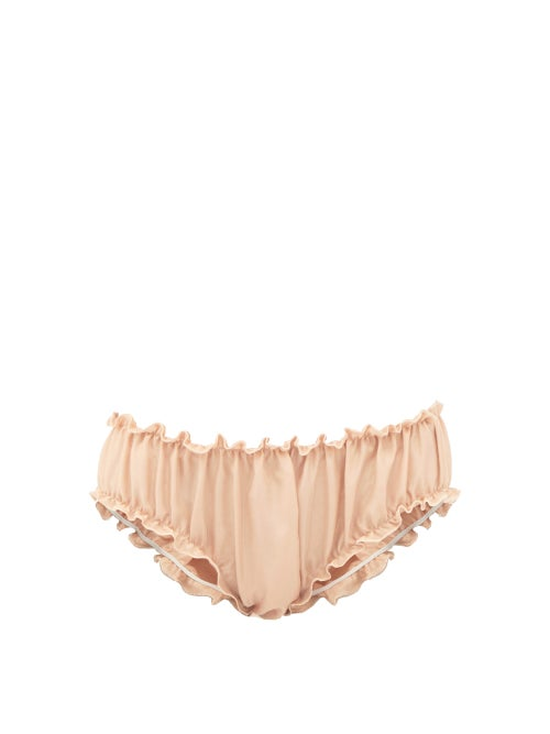 Loup Charmant - Frilled Silk Bloomer Briefs - Womens - Nude