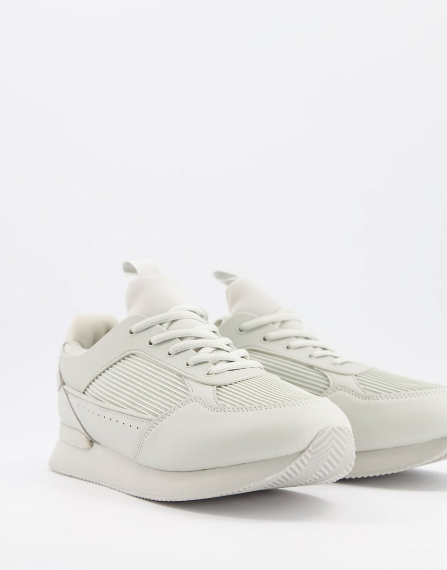 ASOS DESIGN trainers in tonal light grey with ribbed panel