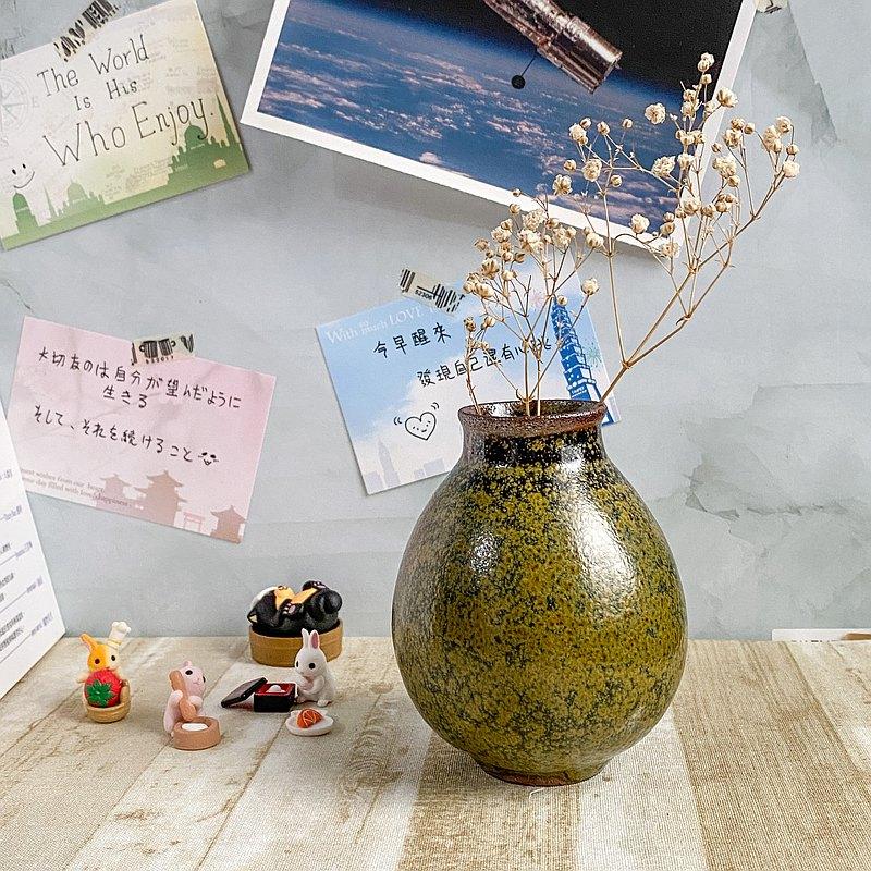 釉名 x茶葉末x 9.5cm陶瓷小花瓶 花器