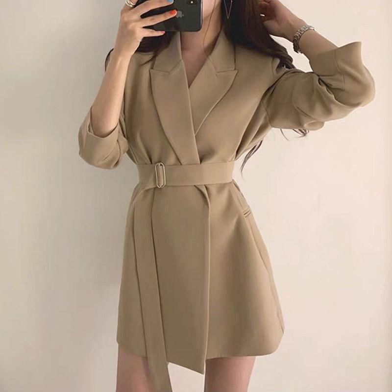 COCO女裝♟ 現貨新款春秋網紅韓版小西裝外套女Chic中長款西服系腰帶修身顯瘦