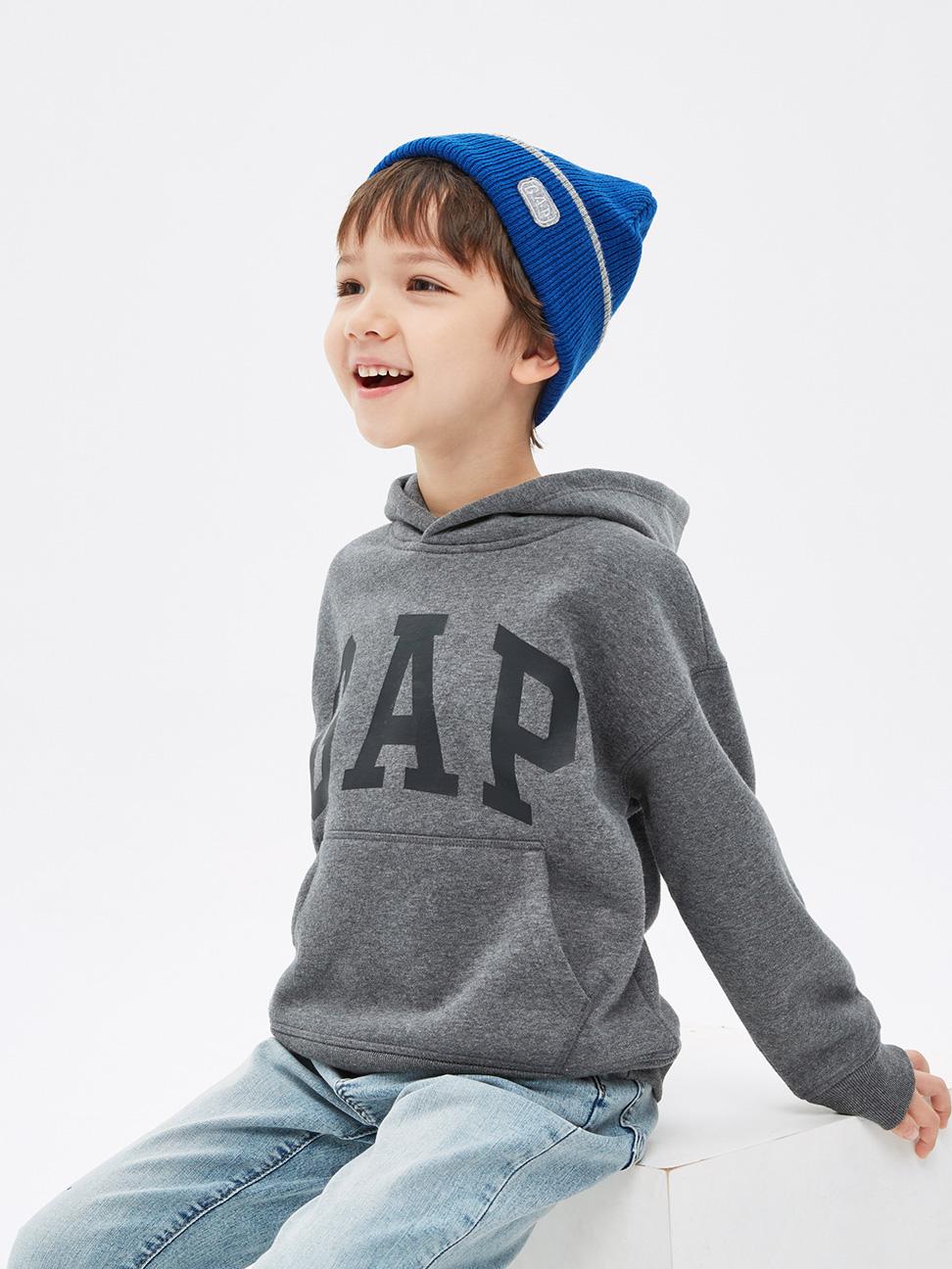 男童 碳素軟磨系列 Logo刷毛連帽休閒上衣