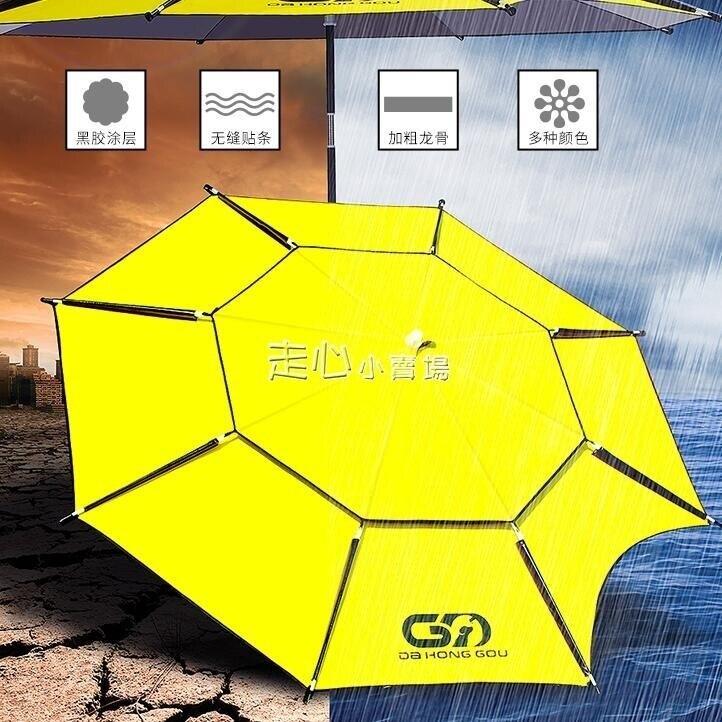 黑膠釣魚傘2.2/2.4米加厚釣傘超輕萬向遮陽傘防曬摺疊防雨垂釣傘YJT 台灣現貨 聖誕節交換禮物 雙12