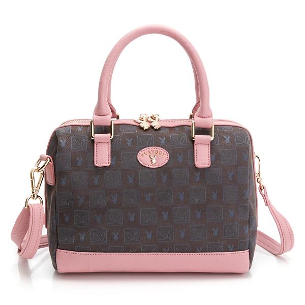 PLAYBOY- 手提包附長背帶 kalos系列-粉色