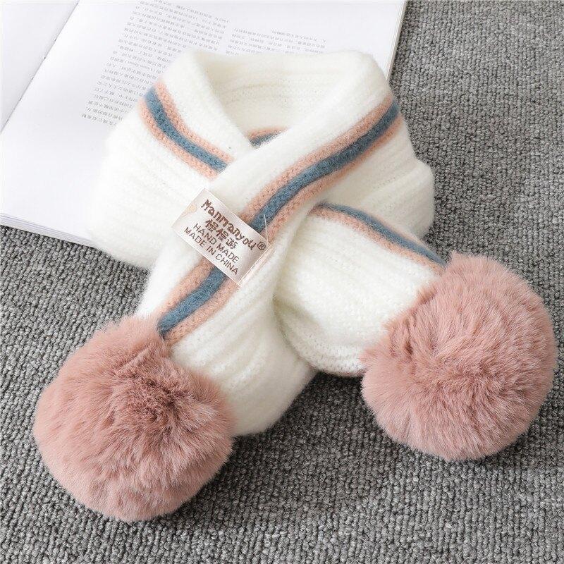 2020寶寶圍巾冬季男女童柔軟圍脖潮加厚保暖毛線圍巾兒童百搭球球