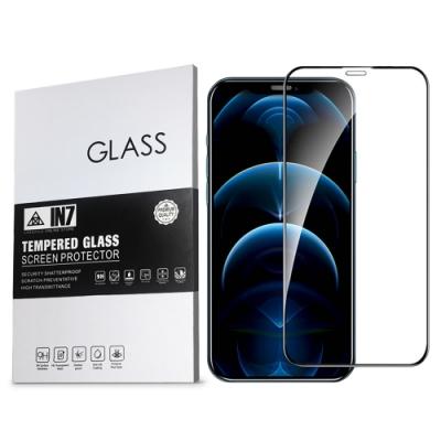 IN7 iPhone 12 Pro (6.1吋) 高清 高透光2.5D滿版9H鋼化玻璃保護貼 疏油疏水 鋼化膜-黑色