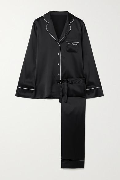 Journelle - X Net-a-porter 刺绣真丝混纺缎布睡衣套装 - 黑色 - medium