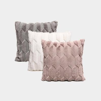 BUNNY LIFE 北歐風輕奢幾何毛絨抱枕(含枕芯)-3色可選