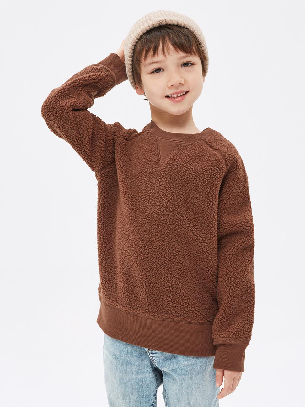 男童 保暖仿羊羔絨圓領休閒上衣