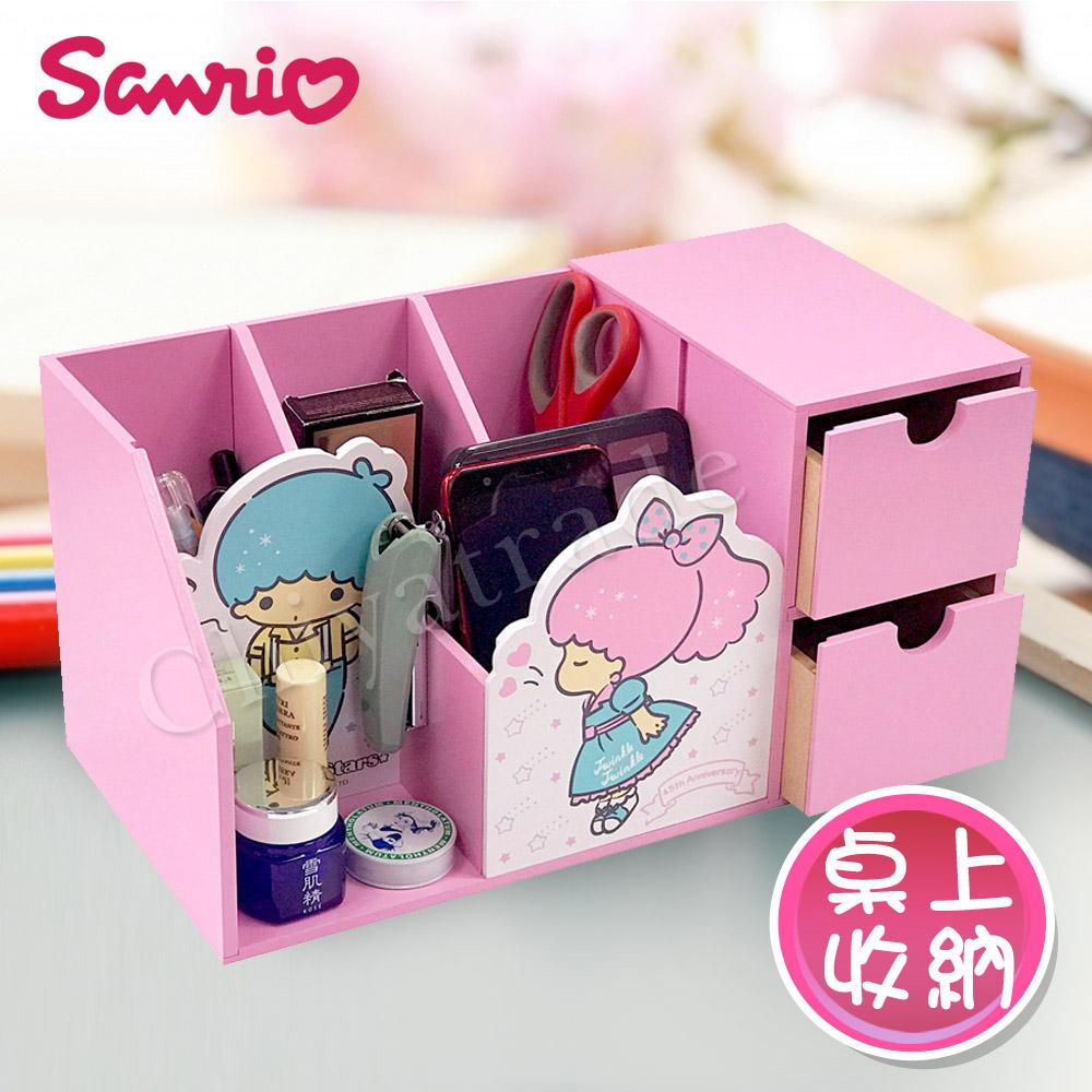 【Little Twin Stars】雙子星 筆筒收納雙層抽屜盒 桌上收納 文具收納(正版授權台灣製)